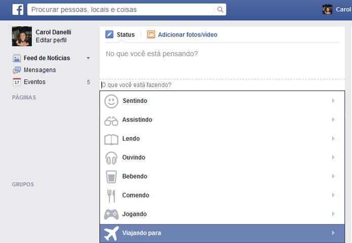 Com as ações do Facebook, o usuário pode compartilhar para onde está indo viajar (Foto: Reprodução/Carol Danelli)