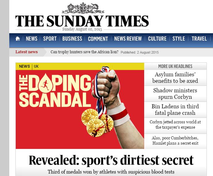 The Sunday Times - escândalo atletismo (Foto: Reprodução / The Sunday Times)