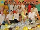 Fátima Bernardes recebe visitas ilustres nos bastidores do Encontro