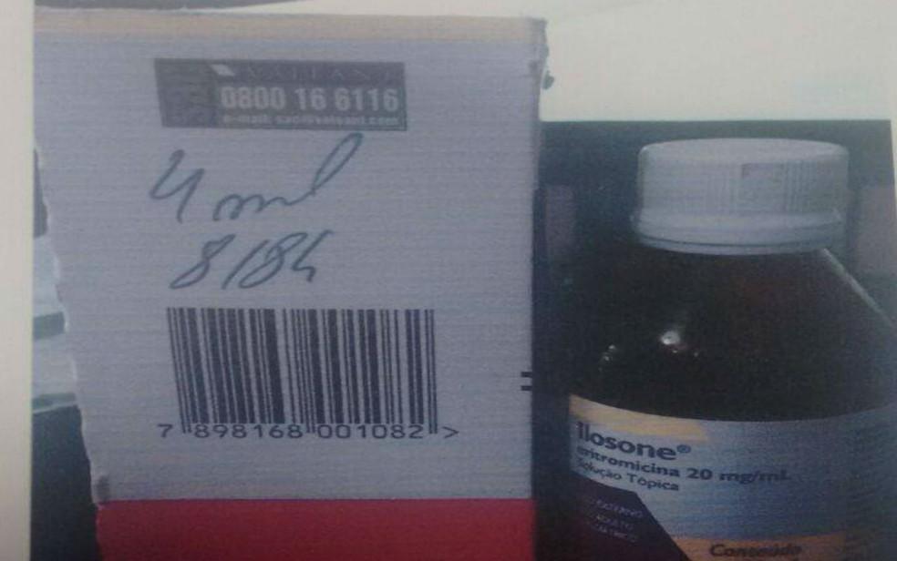 Remédio isolone, que tem uso tópico, foi indicado para uso oral por funcionário de farmácia (Foto: Taísa Moura/ TV Santa Cruz)