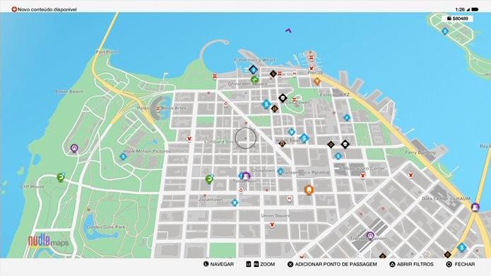 O mapa de Watch Dogs 2 é o melhor amigo para encontrar missões e subir de nível (Foto: Reprodução/Felipe Demartini)