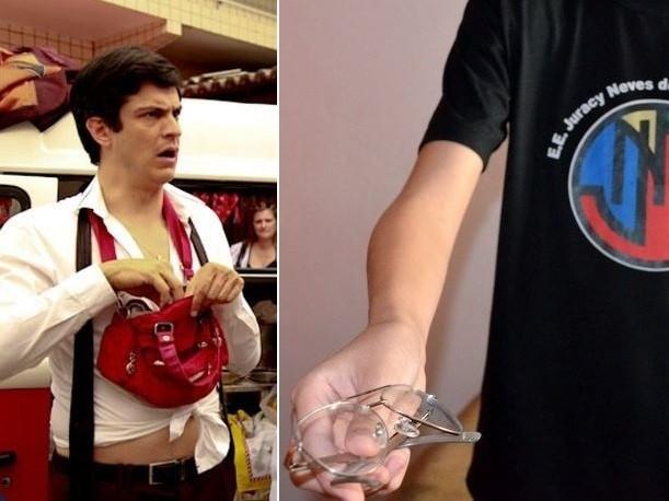 """Montagem: Adolescente foi chamado de """"Félix"""" após voltar das férias com óculos (Foto: Ellen Soares/TV Globo e Leon Botão)"""