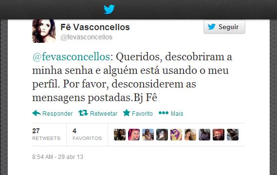 Fernanda Vasconcellos no twitter (Foto: Reprodução/ Twitter)