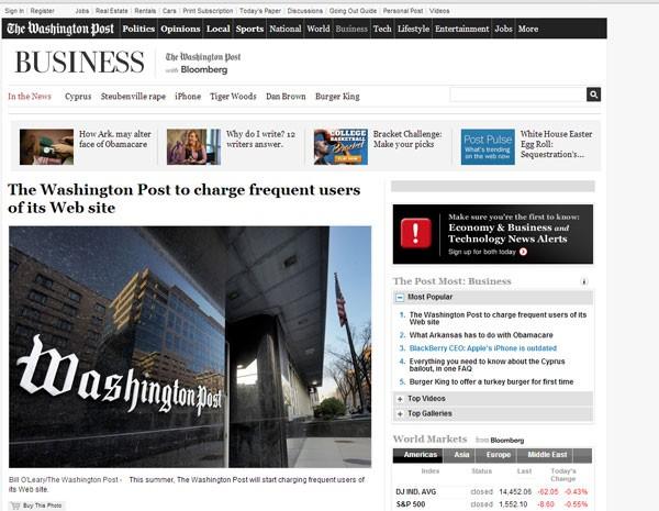 """Notícia do """"The Washington Post"""" informa que jornal vai passar a cobrar pelo conteúdo. (Foto: Reprodução/site The Washington Post)"""