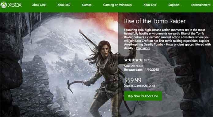 Rise of the Tomb Raider pode ser comprado na Xbox Live (Foto: Reprodução/Felipe Vinha)