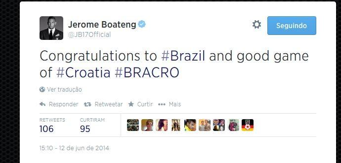 Jerome Boateng parabeniza o Brasil pela vitória (Foto: Reprodução/Twitter)