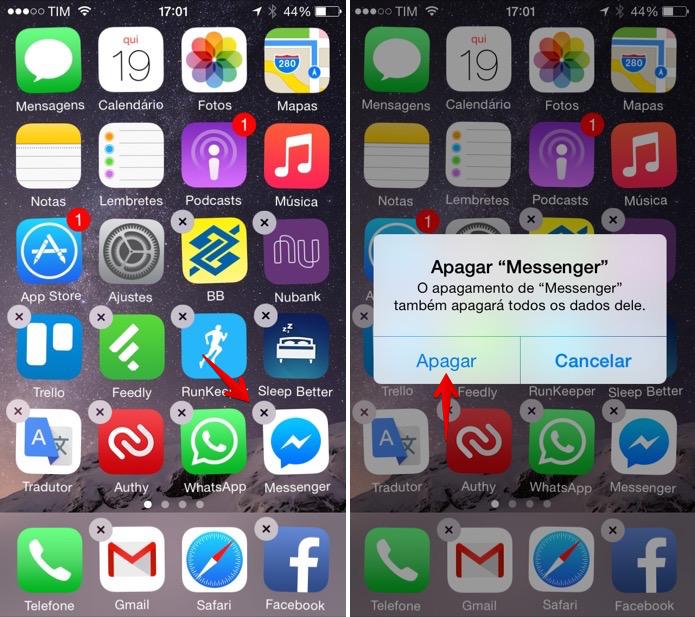 Desinstalando o Facebook Messenger no iOS (Foto: Reprodução/Helito Bijora)