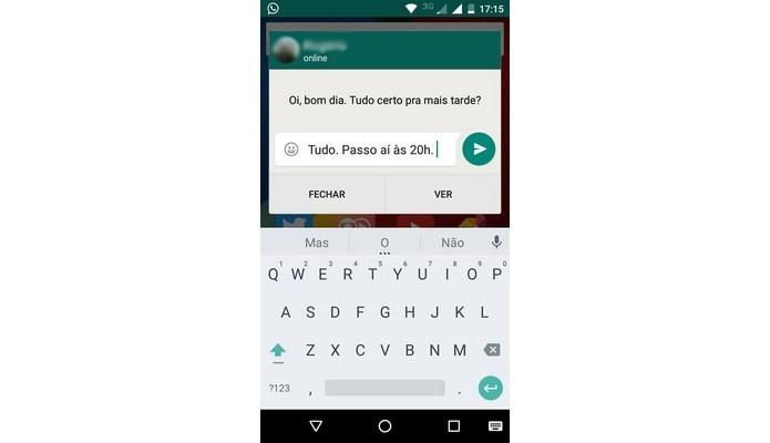 Caixa de resposta do WhatsApp através de notificação (Foto: Reprodução/Raquel Freire)