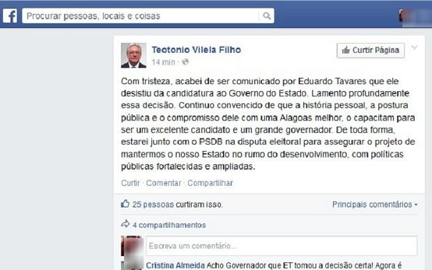Em publicação nas redes sociais, Teotonio Vilela Filho anuncia renúncia de ET (Foto: Reprodução/Facebook)