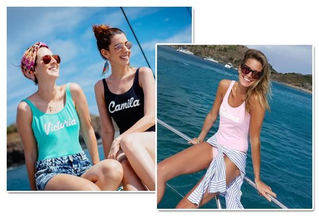 As it-girls Vic Ceridono, Camila Coutinho e Helena Bordon já foram vistas com seus maiôs personalizados (Foto: Reprodução Instagram)