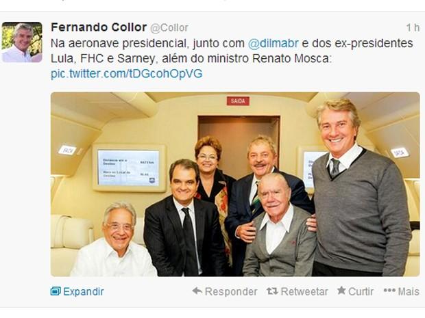 Reprodução de mensagem do senador Fernando Collor em seu perfil no microblog Twitter (Foto: Reprodução)