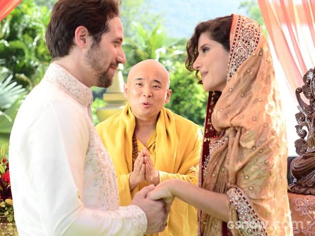 Juliana e Fernando se casam em cerimônia budista (Foto: Ellen Soares / TV Globo)
