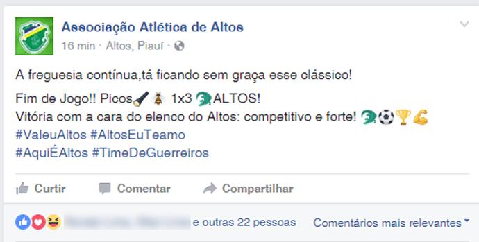 Provocação Altos x Picos (Foto: Reprodução/Facebook)