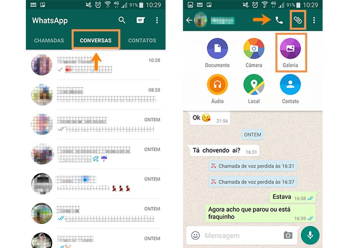 Acesse a conversa no WhatsApp e depois o ícone de galeria (Foto: Reprodução/Barbara Mannara)