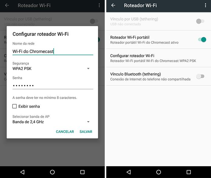 Crie um Wi-Fi em um celular e configure o Chromecast por outro (Foto: Reprodução/Paulo Alves)