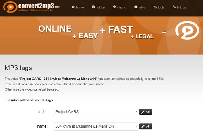 Serviço se destaca por permitir que o usuário edite as tags ID3 de um arquivo MP3 (Foto: Reprodução/Filipe Garrett)
