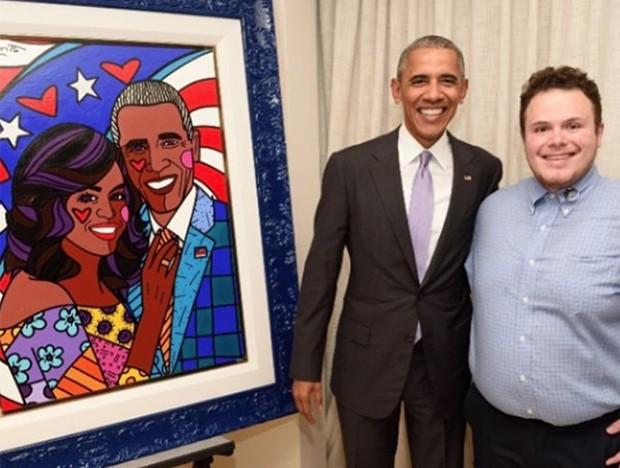 O presidente dos EUA, Barack Obama, e Brendan Britto, filho do pintor brasileiro Romero Britto (Foto: Reprodução/Instagram/brittopopart)