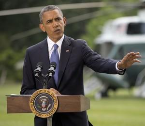 O presidente dos Estados Unidos, Barack Obama, fala sobre o avanço de militantes no Iraque (Foto: Pablo Martinez Monsivais/AP)