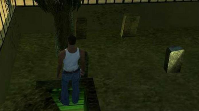 GTA San Andreas: o cemitério esconde mensagens fantasmagóricas (Foto: Reprodução/YouTube)