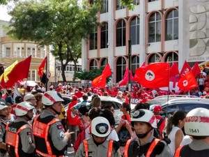 Protesto em João Pessoa (Foto: André Resende/G1)
