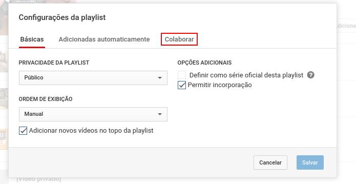 Acessando a guia Colaborar nas configurações da playlist (Foto: Reprodução/Edivaldo Brito)
