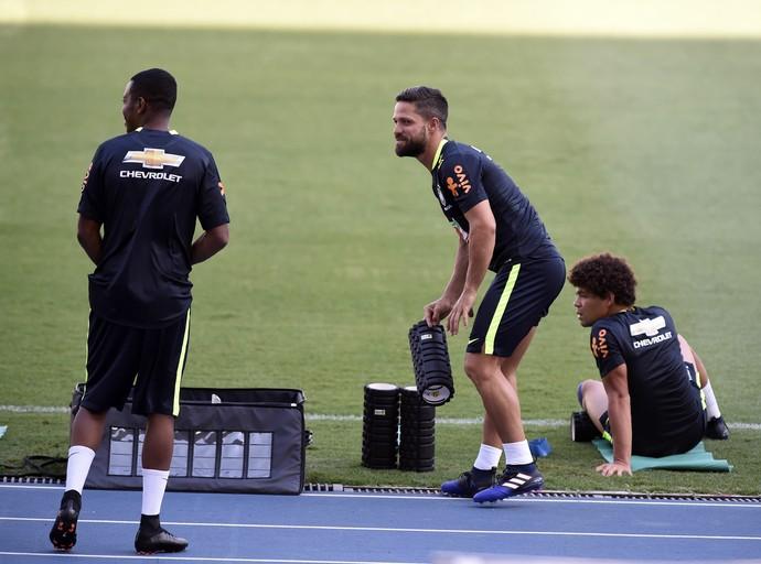 Robinho e Diego, treino seleção brasileira, Estádio Nilton Santos (Foto: André Durão)