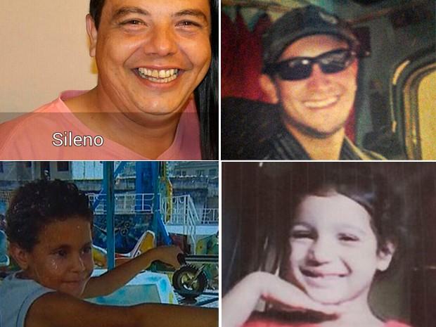 Os trabalhadores Sileno Narkievicius de Lima e Marcos Xavier e as crianças Emanuele Vitória e Thiago Damasceno Santos estão entre os desaparecidos (Foto: G1)