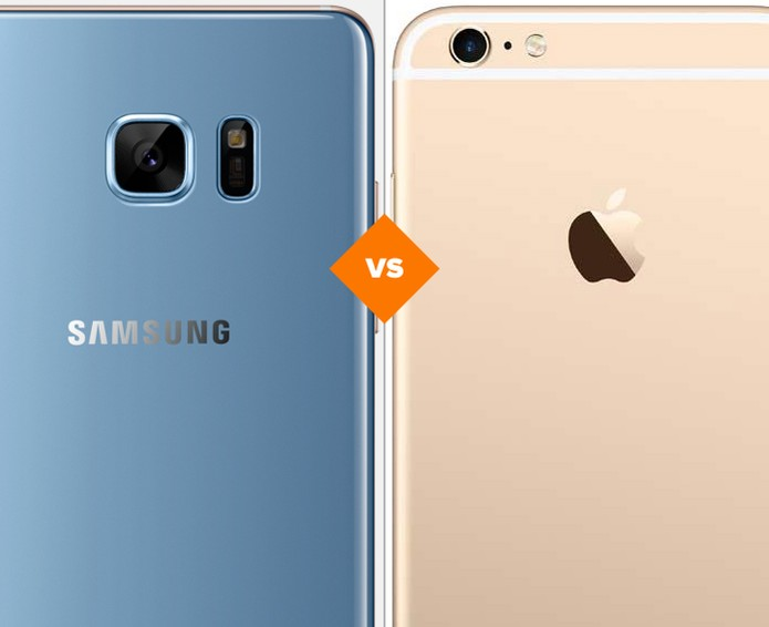 Confira o comparativo entre o Galaxy Note 7 e o iPhone 6S Plus (Foto: Arte/TechTudo)