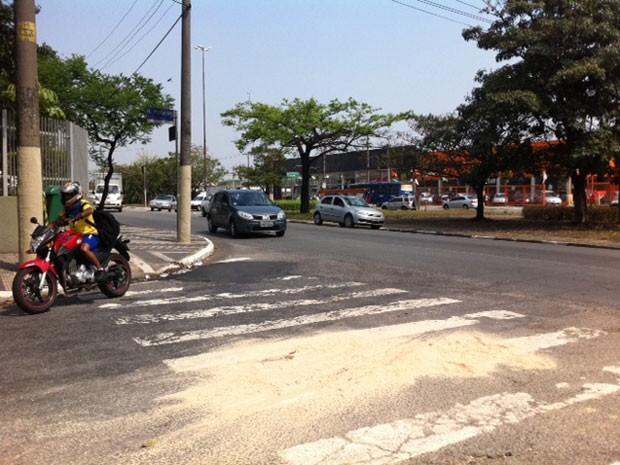 Ciclista morre ao ser atingido por caminhão na Zona Oeste de SP (Foto: Clara Velasco/G1)