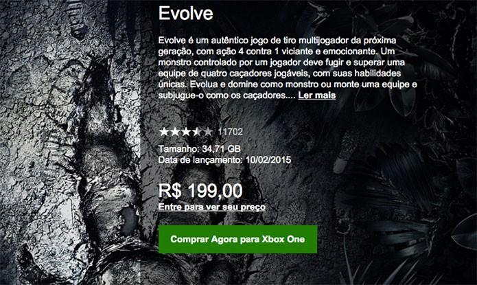 Comprando Evolve na Xbox Live (Foto: Reprodução/Felipe Vinha)