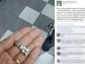 Mãe da criança postou uma foto da presilha engolida pela menina  (Foto: Reprodução / Facebook)