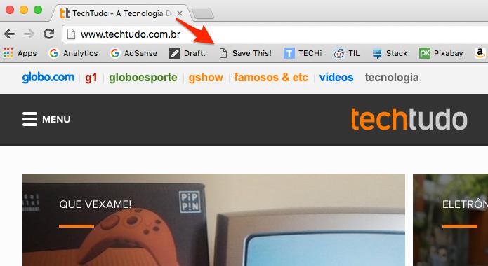 Basta clicar no botão na barra de favoritos. (Foto: Reprodução/Alessandro Junior)