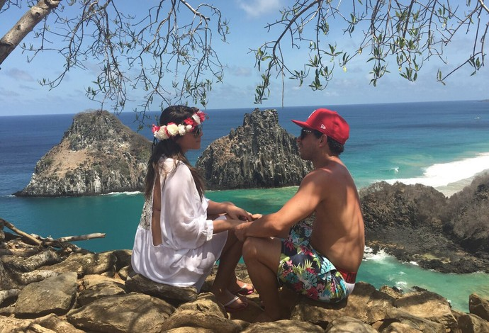 Wellington Nem e a namorada Barbara Kretzer em Fernando de Noronha (Foto: Arquivo Pessoal)