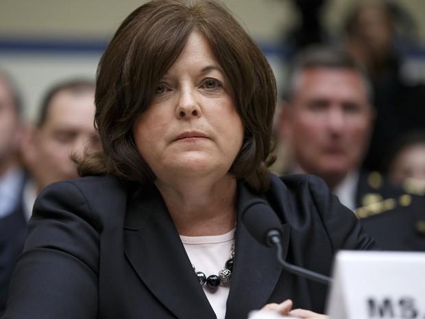 Julia Pierson durante audiência no Congresso sobre as falhas de segurança do Serviço Secreto, na terça-feira (30) (Foto: AP Photo/J. Scott Applewhite)