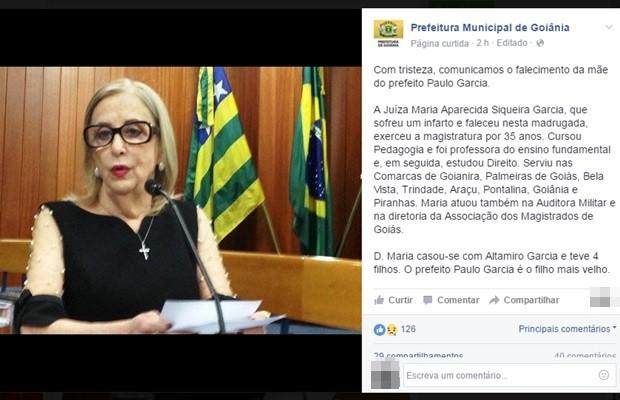 Mãe do prefeito de Goiânia, Paulo Garcia (PT), Maria Aparecida de Siqueira Garcia, morreu aos 78 anos (Foto: Reprodução/Facebook)