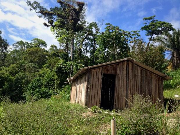Uma das casas da aldeia indígena em Mongaguá (Foto: Raquel Marques/Arquivo Pessoal)