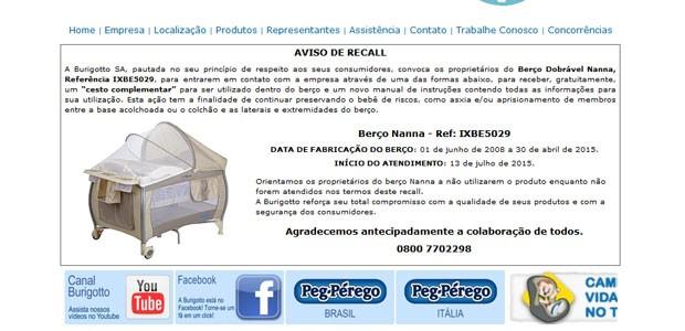 Burigotto vai vai fornecer um cesto complementar em recall após alerta de risco de asfixia (Foto: Reprodução)