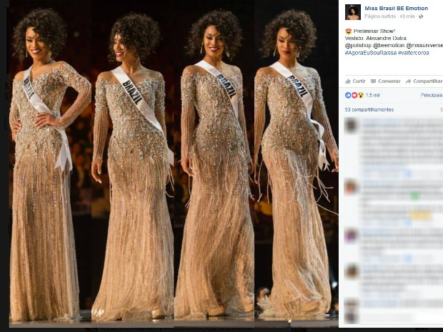 Raissa Santana participa do Miss Universo no domingo (29), nas Filipinas (Foto: Reprodução/Facebook)