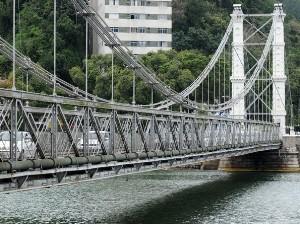 Ponte Pênsil fica interditadata nesta segunda-feira (Foto: Divulgação / Prefeitura de São Vicente)