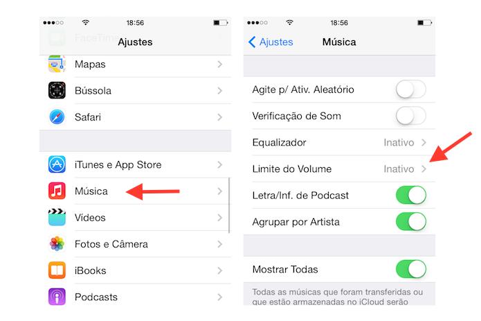 Acessando a ferramenta Limite de Volume do iOS (Foto: Reprodução/Marvin Costa)