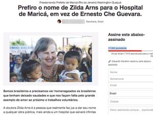 Petição sugere homenagem a Zilda Arns (Foto: Change.org/Reprodução)