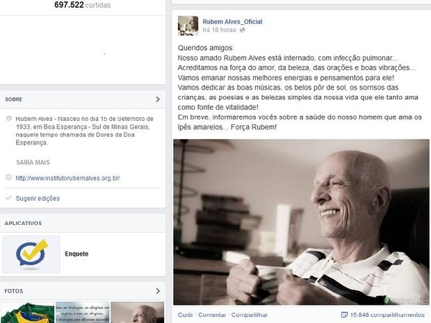 Página oficial pede para fãs enviarem 'boas vibrações' para o escritor (Foto: Reprodução/ Facebook)