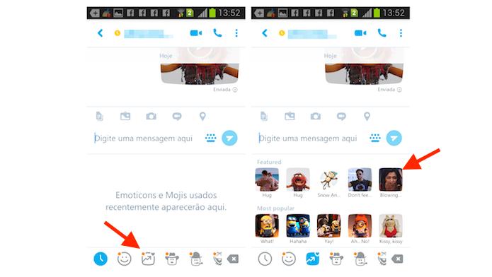 Visualizando a tela de mojis do Skype para Android (Foto: Reprodução/Marvin Costa)