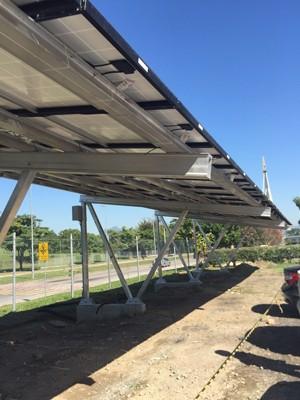 Estacionamento solar da UFRJ (Foto: Divulgação/Bruno Allevato)