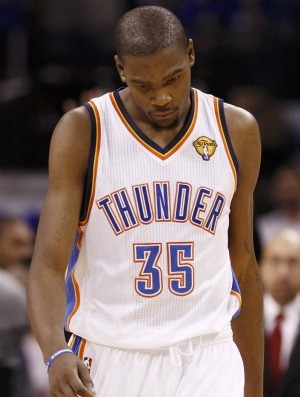 Kevin Durant lamenta, Oklahoma City Thunder x Miami Heat (Foto: Ag&#234;ncia Reuters)