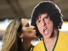 Fã beija totem de David Luiz no estádio Mané Garrincha
