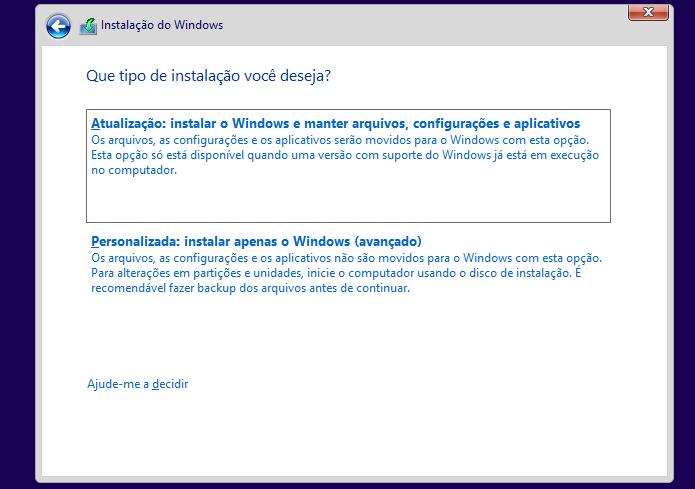 Selecionando o tipo de instalação do Windows 8 (Foto: Reprodução/Edivaldo Brito)