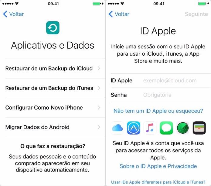 Escolha como deseja configurar o iPhone e faça login em sua conta iCloud (Foto: Reprodução/Helito Bijora)