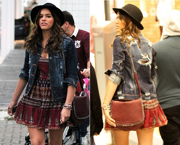 a563e116ea07d  MODA jaqueta  (Foto  Agnews) Bruna Marquezine aposta na jaqueta jeans para  deixar look mais ...