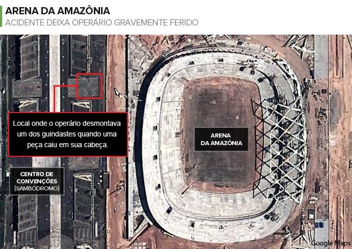 Info ACIDENTE ARENA DA AMAZÔNIA 2 (Foto: Infoesporte)
